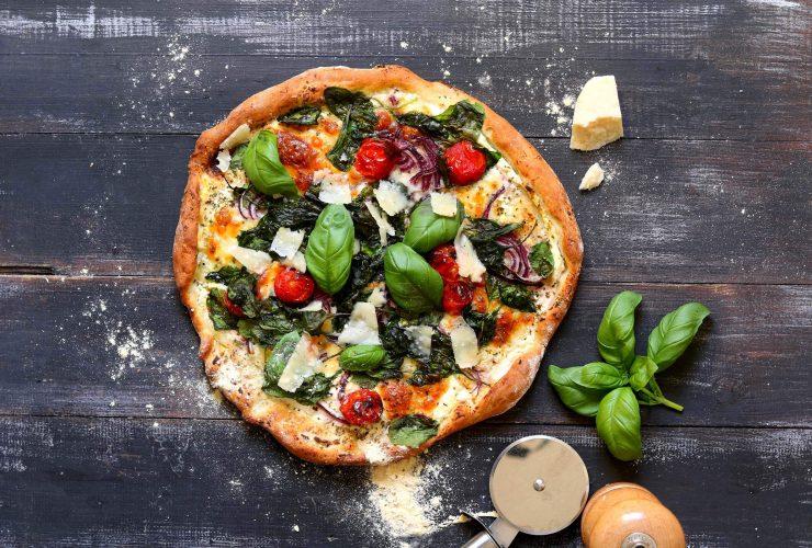 vegan ıspanaklı pizza